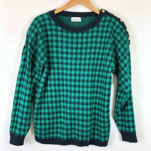 Vintage Garland Houndstooth Check Sweater Buttons